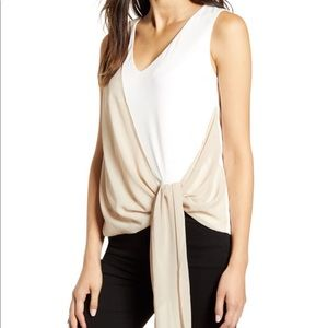 NWT Bailey44 Ivory 'Peyton' Blouse with Nude Tie